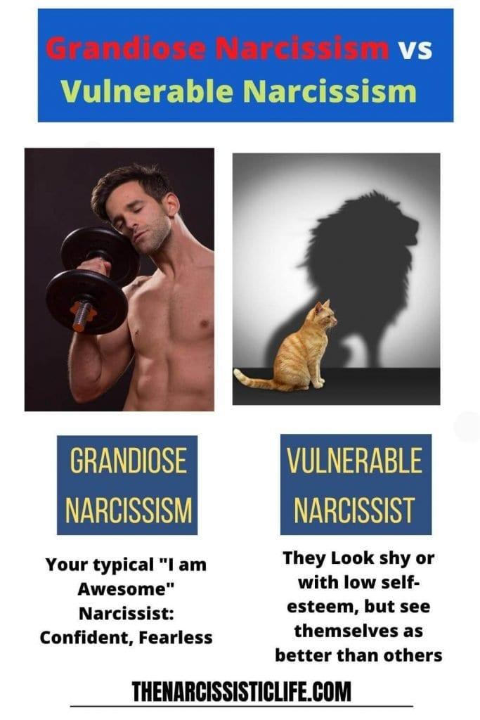 grandiose narcissism vs vulnerable narcissism
